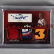 2008 Topps Triple Threads Dwyane Wade Signed, Game-Used Heat Jersey Card 2/9