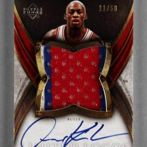 2006-07 UD Exquisite Dennis Rodman Signed Game-Used Bulls Jersey Card 11/50