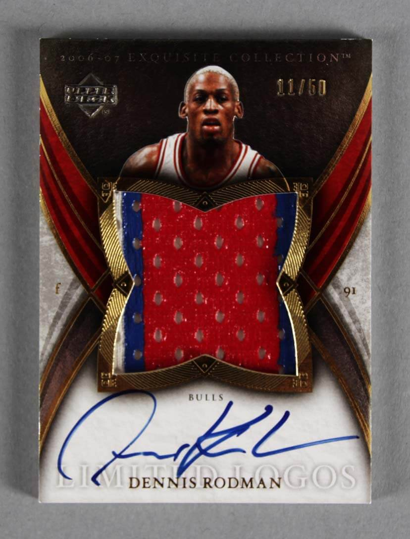 first rate 72585 67e13 2006-07 UD Exquisite Dennis Rodman Signed Game-Used Bulls Jersey Card 11/50