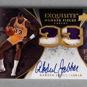 2007-08 UD Exquisite Kareem Abdul-Jabbar Signed, Game-Used Lakers Jersey Card Number Pieces 5/33