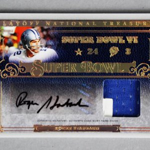 2007 National Treasures Roger Staubach Signed Game-Used Jersey Card Cowboys 6/25