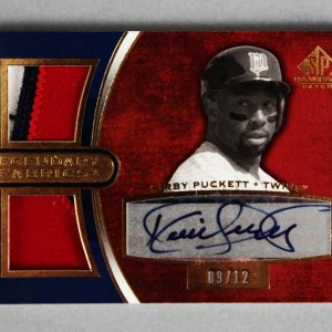 2004 UD SP Game Used Patch Kirby Puckett Signed Twins Jersey Card Legendary Fabrics 9/12