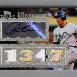 2007 Topps Sterling Alex Rodriguez Signed, Game-Used Yankees Jersey Bat Baseball Card 1/10