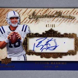 2008 UD Premier Football  Peyton Manning Signed Card Colts Signature Premier 47/65