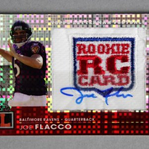 2008 Topps Letterman Joe Flacco Signed Logo Patch Rookie Card 2/3