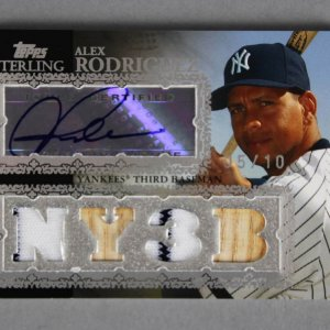 2007 Topps Sterling Alex Rodriguez Signed, Game-Used Yankees Jersey Bat Card 5/10