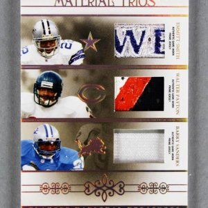2007 National Treasures Emmitt Smith - Walter Payton - Barry Sanders Material Trios Game Jersey Card 2/25