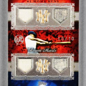 2007 Topps Sterling Roger Maris Game Used Yankees Jersey Bat Card Moments 10/10