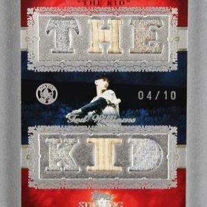 2007 Topps Sterling Ted Williams Game-Used Red Sox Jersey Bat Card Stardom 4/10
