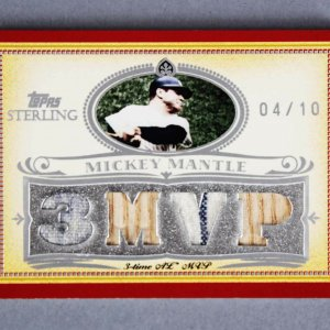 2007 Topps Sterling Mickey Mantle Game-Used Yankees Jersey Bat Card 4/10