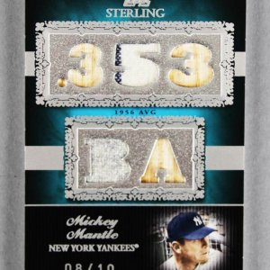 2007 Topps Sterling Mickey Mantle Game-Used Yankees Jersey Bat Card 8/10