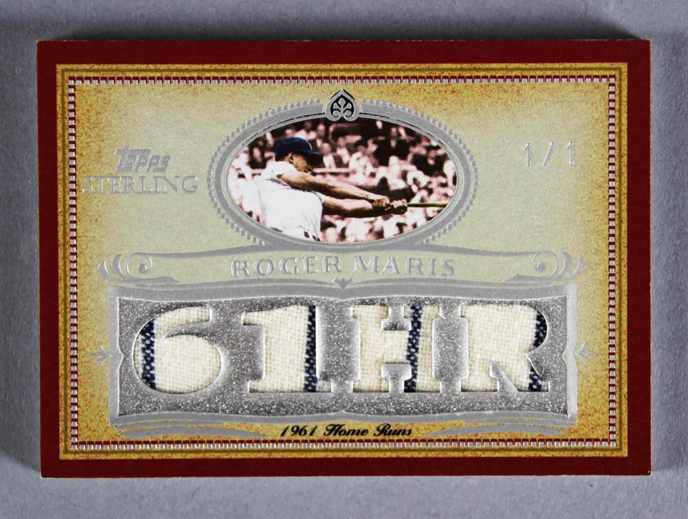 2007 Topps Sterling Roger Maris Game-Used Yankees Jersey Card Silver Prime 1/1