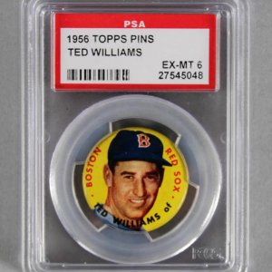 1956 Topps Pins Ted Williams Boston Red Sox - Graded PSA EX-MT 6