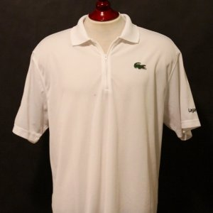 An Andy Roddick Game-Used Custom Lacoste Polo Shirt.  Wimbledon 2011.