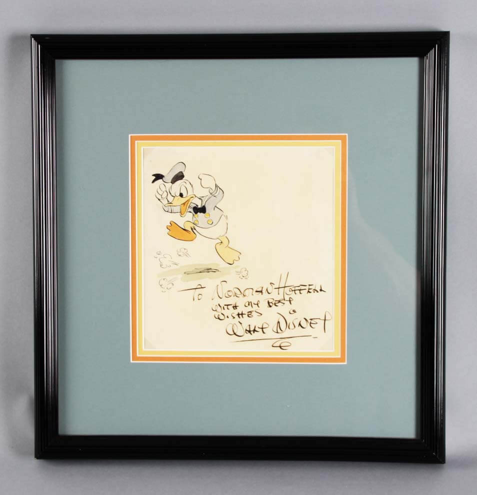 Walt Disney Signed Sketch Watercolor Drawing of Donald Duck -Inscribed JSA Full LOA