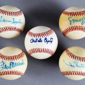 MLB HOFer's Signed Baseballs (5) - Ernie Banks, Duke Snider, etc. - JSA