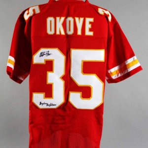Christian Okoye Signed Kansas City Chiefs Jersey - COA JSA