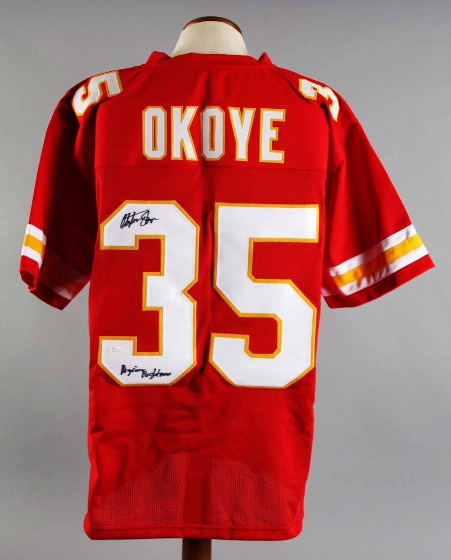 watch c60e4 8fc51 Christian Okoye Signed Kansas City Chiefs Jersey - COA JSA