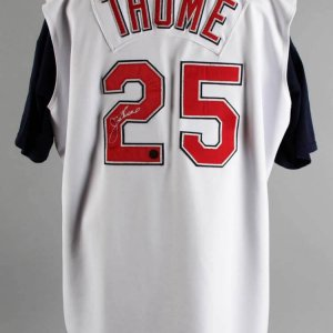 2002 Jim Thome Game-Worn, Signed Cleveland Indians Jersey - COA Schwartz Sports & 100% Team