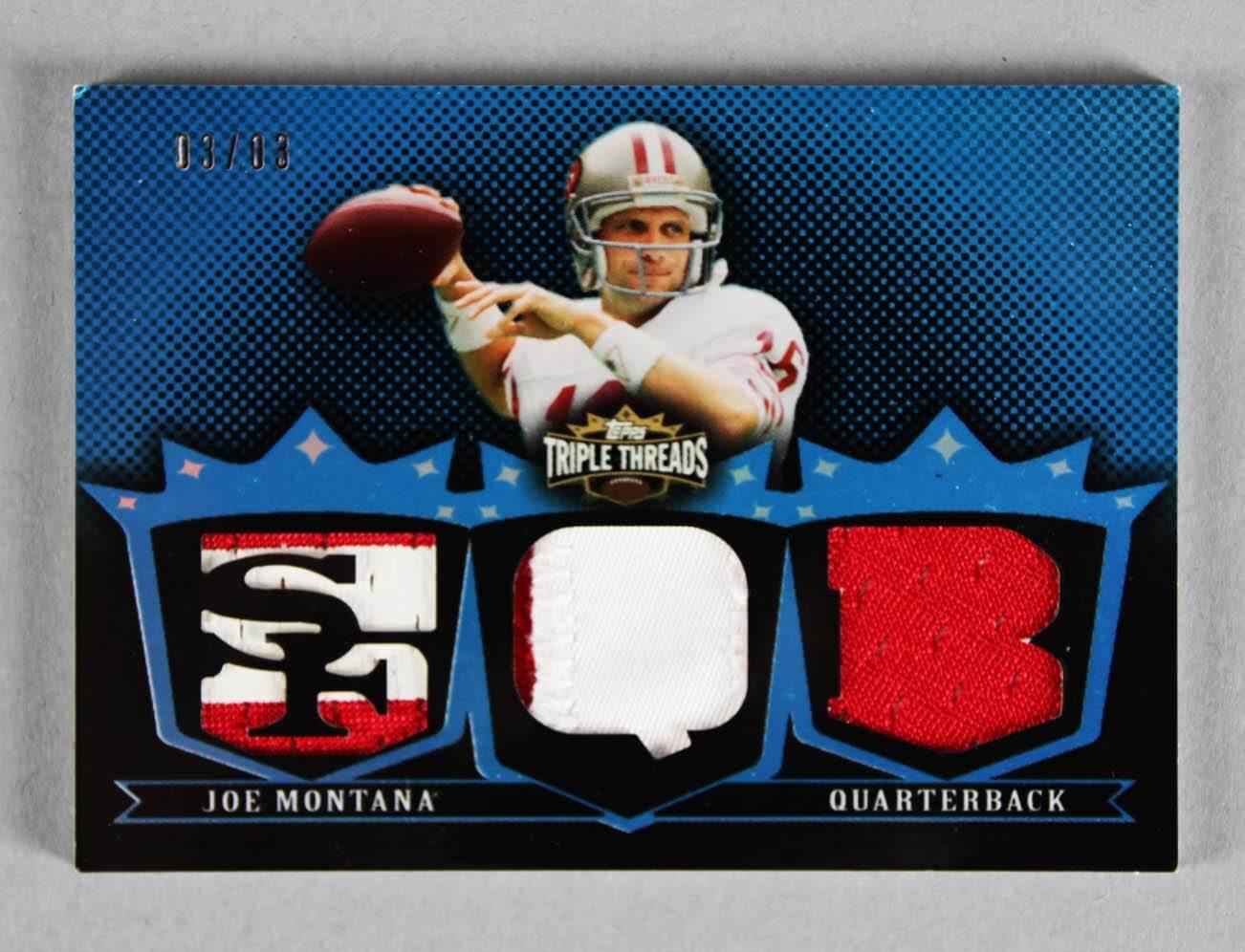 2007 Topps Triple Threads Joe Montana Game-Used 49ers Jersey Card 3/3