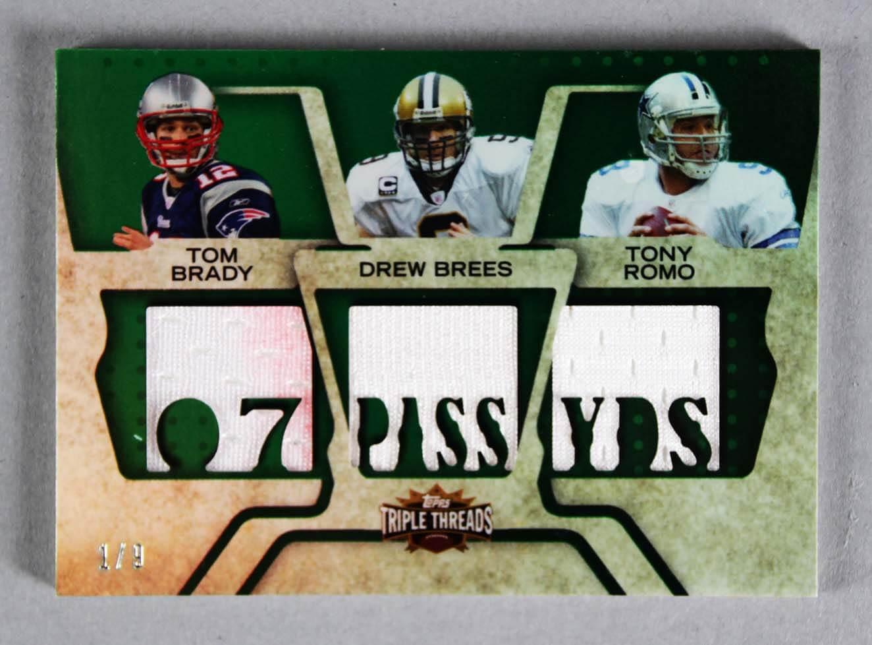 2008 Topps Triple Threads Tom Brady, Drew Brees & Tony Romo Game-Used Jersey Card 1/9