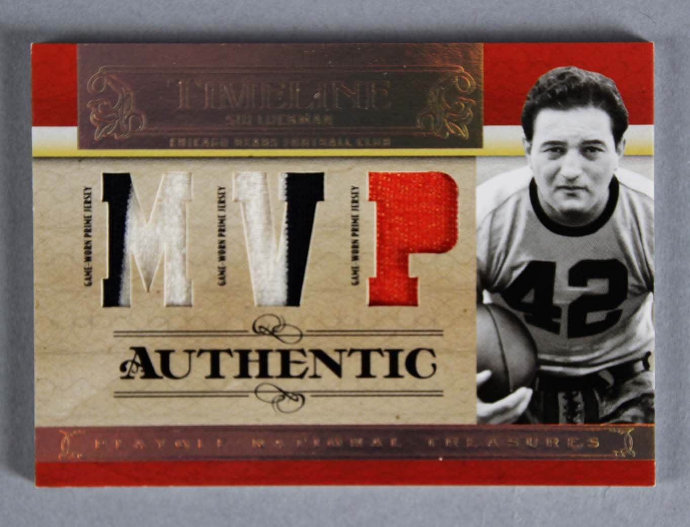 2007 National Treasures Sid Luckman Game-Used Chicago Bears Jersey Card Timeline 4/5