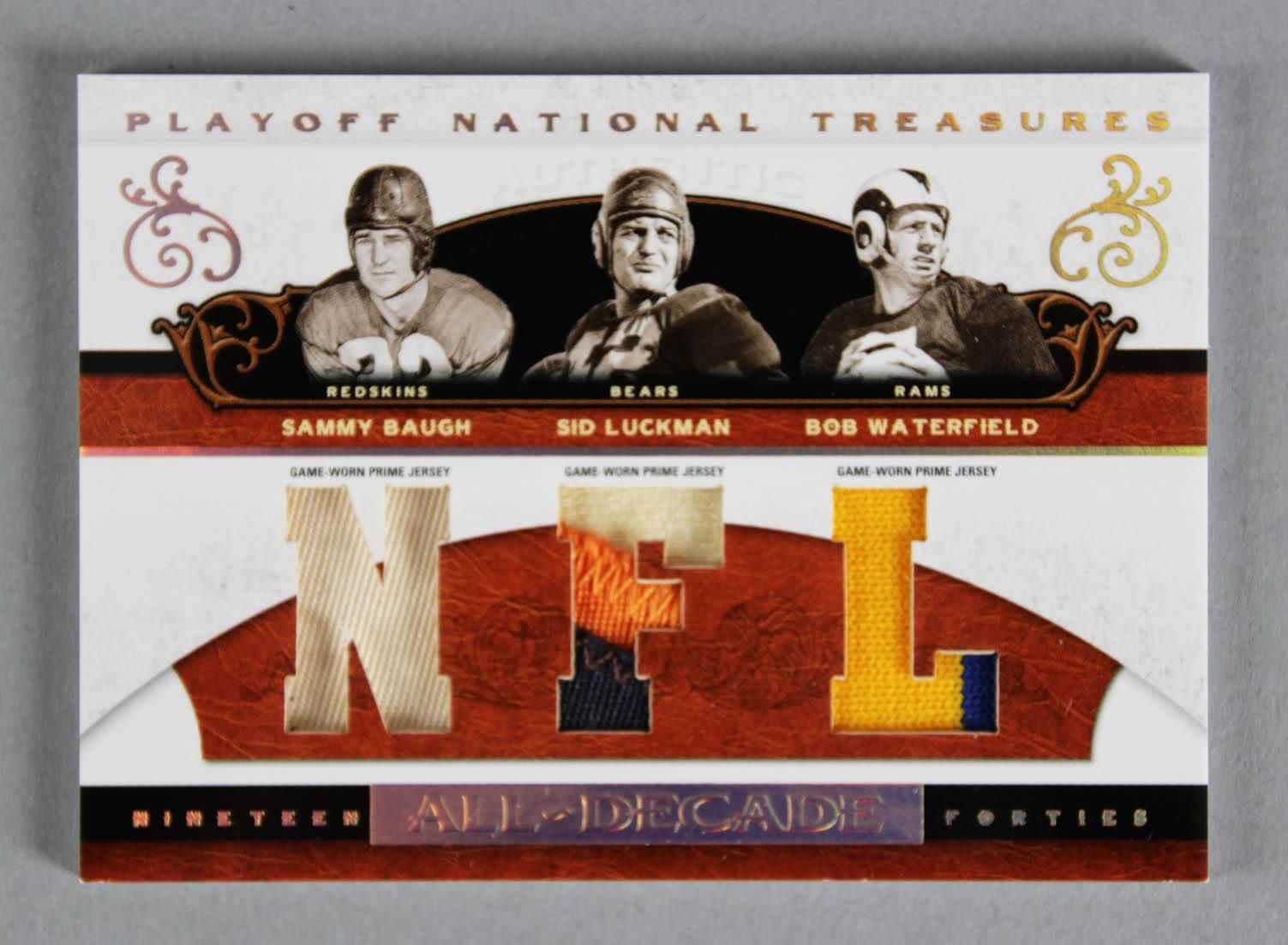 2007 National Treasures Sammy Baugh, Sid Luckman & Bob Waterfield Game-Used Jersey Card 3/10
