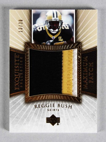 2006 UD Exquisite Collection Reggie Bush Game-Used Saints Jersey Card Patch 13/30