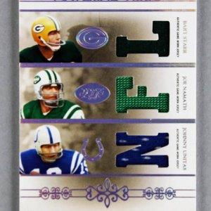 2007 National Treasures Bart Starr - Joe Namath - Johnny Unitas Material Trios Game-Used Jersey Card 18/25