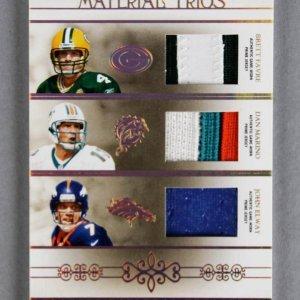 2007 National Treasures Brett Favre - Dan Marino- John Elway Material Trios Game Jersey Card 9/25