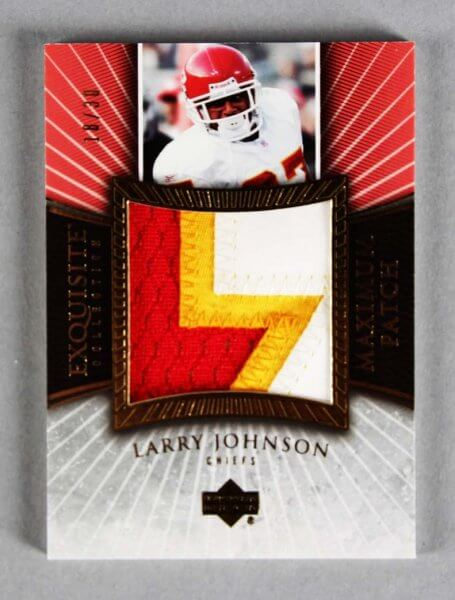 2006 UD Exquisite Collection Larry Johnson Game-Used Chiefs Jersey Card Patch 18/30