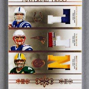 2007 National Treasures Peyton Manning- Tom Brady - Brett Favre Material Trios Game Jersey Card 2/25