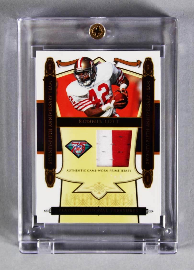 0d2b4214e20 2008 National Treasures Ronnie Lott Game-Used 49ers Jersey Card 12 25