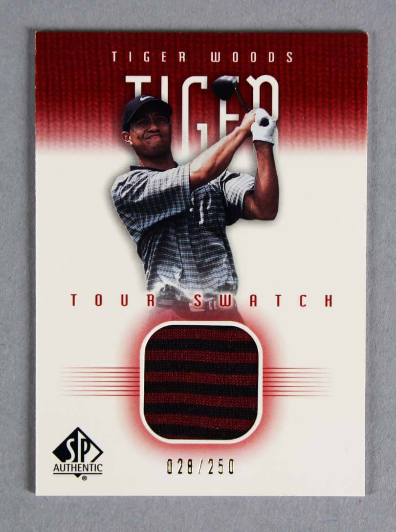 2001 SP Authentic Tiger Woods Game-Used Shirt Tour Swatch Golf Card 26/250