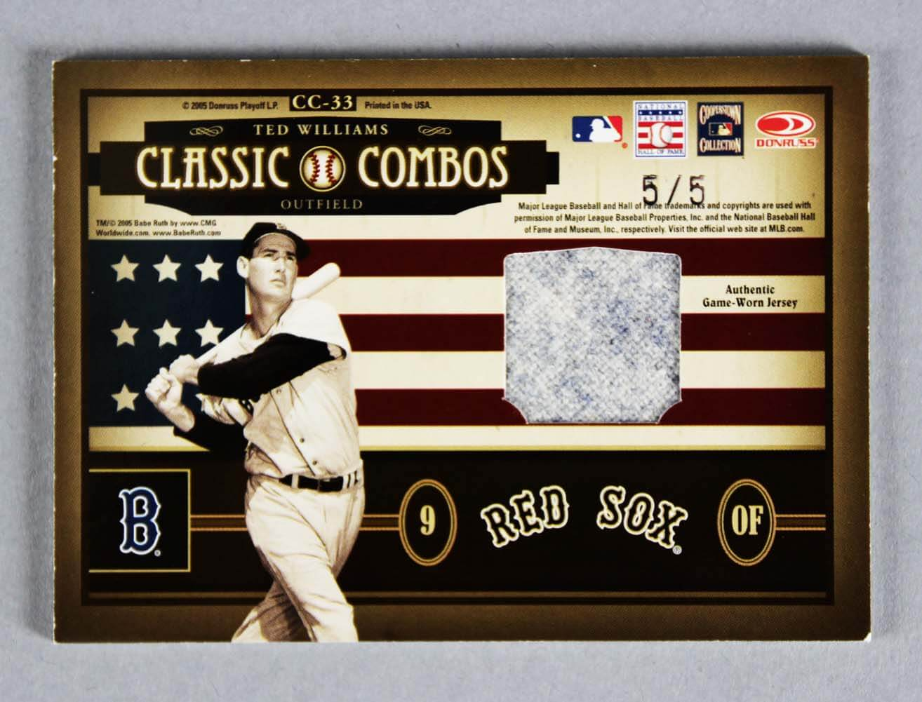 f2076a132 Babe Ruth   Ted Williams Card Game-Worn 5 5 (Copy)