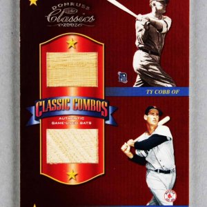2002 Donruss Classics Ted Williams & Ty Cobb Game-Used Bat Card Combos 16/25