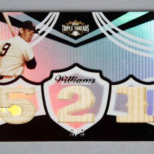 2006 Topps Triple Threads Ted Williams Game-Used Red Sox Bat Baseball Card 3/3