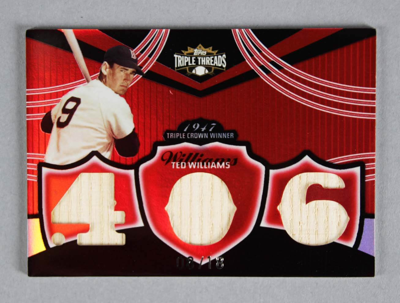 2006 Topps Triple Threads Ted Williams Game-Used Red Sox Bat Baseball Card 8/18