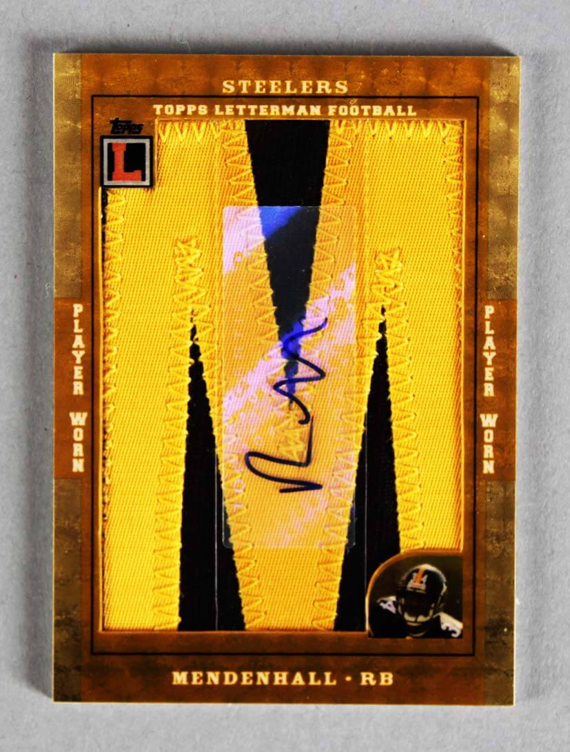 2008 Topps Letterman Football Rashard Mendenhall Signed, Game-Used Jersey Card Rookie (RC) Letter 1/1