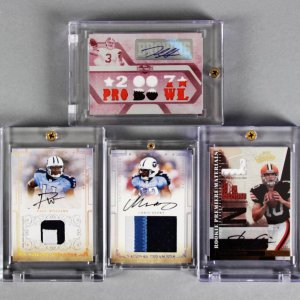(4) NFL Signed Game-Worn Jersey Cards - Derek Anderson 1/1, Brady Quinn, Paul Williams & Chris Henry