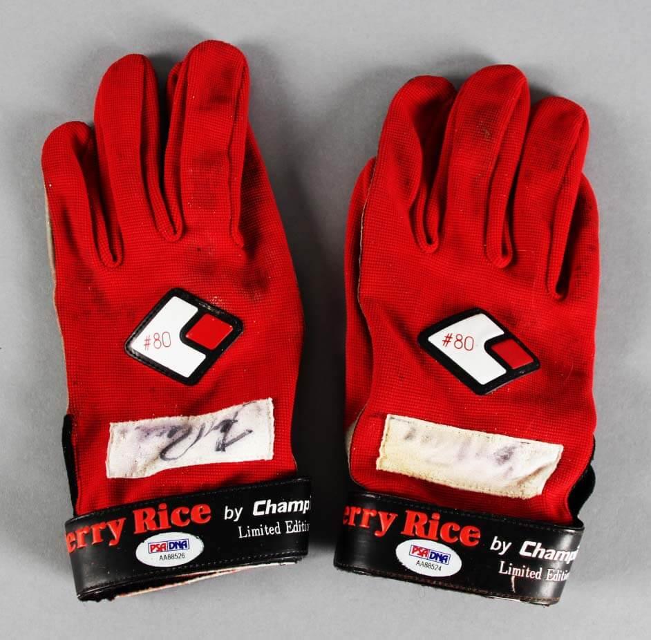 971f7b4e6 Jerry Rice Game-Used, Signed Football Gloves 49ers – COA PSA/DNA & 100%  Team   Memorabilia Expert
