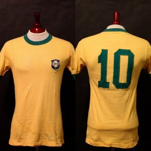 A Pele Game-Used #10 Brazil Home Shirt & Signed World Cup Champions Pennant.  Circa 1970.