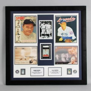 1933 Goudey Lou Gehrig Card #160 Graded SGC 50 VG/EX 4 Display Feat. Babe Ruth
