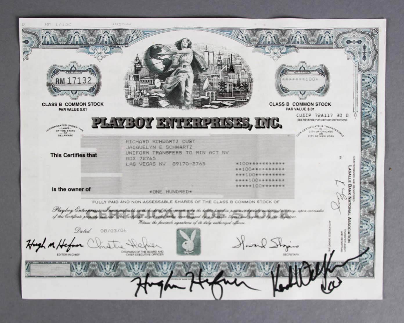 Hugh Hefner & Kendra Wilkinson Signed Playboy Stock Certificate - JSA