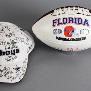 2002 Dallas Cowboy Team-Signed Hat 20+ Sigs. & Urban Meyers Signed Football - JSA