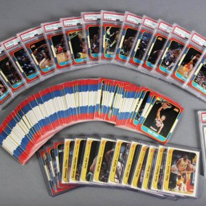1986-87 Fleer Basketball Complete Set with Stickers Michael Jordan Rookie Card PSA Graded NM-MT 8