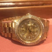 Mens Rolex Solid 18k Yellow Gold Day Date President w/Diamond Dial, Bezel & Band