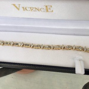 "14K Yellow GOLD DIAMOND Marquise Baguette BRACELET 8.23 Carat 7-1/2"" Length LOA"