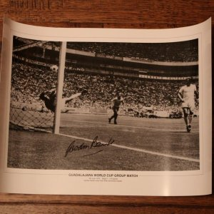 A Gordon Banks Signed Black & White Photograph.  Pele Save (ENG v BRA 1970 World Cup).  COA.