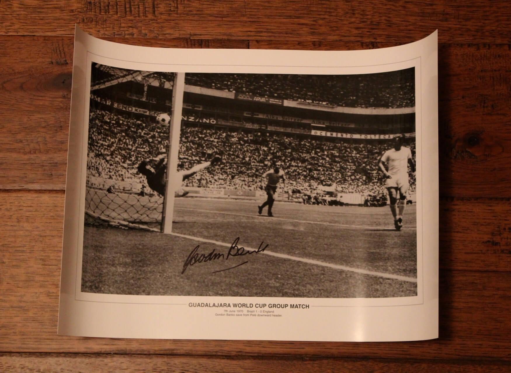 A Gordon Banks Signed Black & White Photograph.  Pele Save (ENG v BRA 1970 World Cup).  COA.